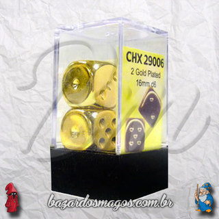 2 D6 Chessex Dourados (Gold Plated)