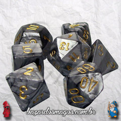 Set de dados (7pçs) Chessex – Leaf Steel and Gold