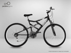 Bicicleta PRETA Aro 26 Full Suspension 21 marchas