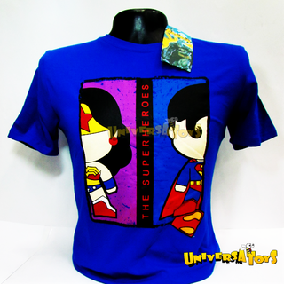 DC: Camiseta Original Superman & Mujer Maravilla Mini