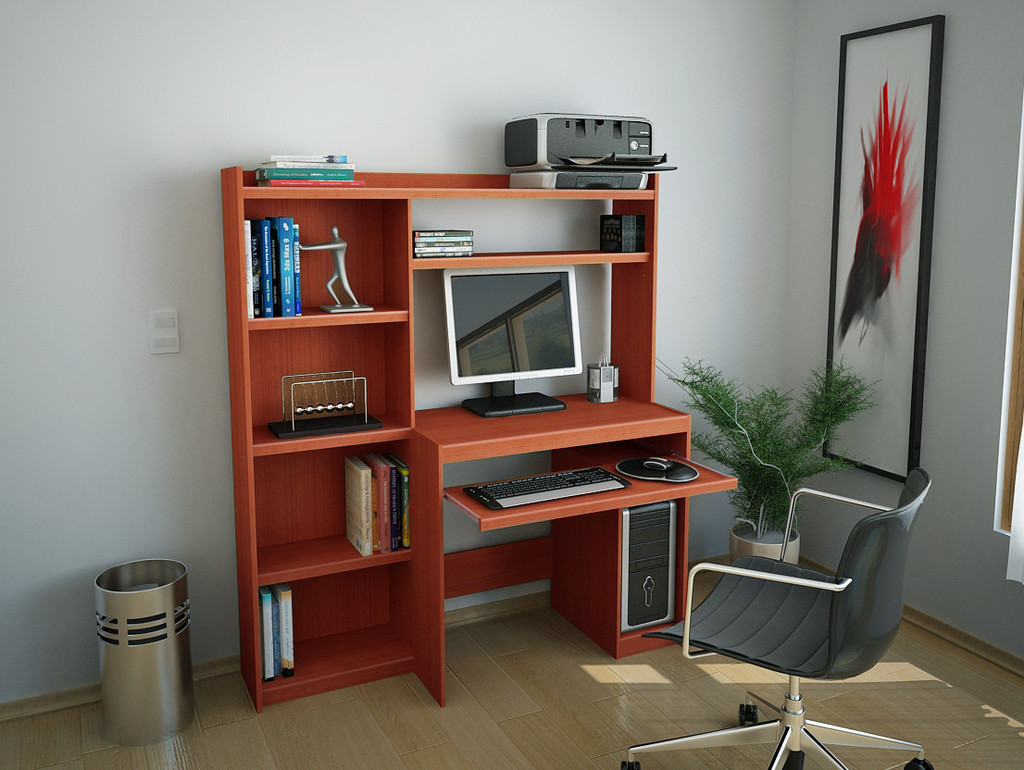 Escritorio mesa para pc reproex r11813 con alzada y biblioteca for Muebles para pc