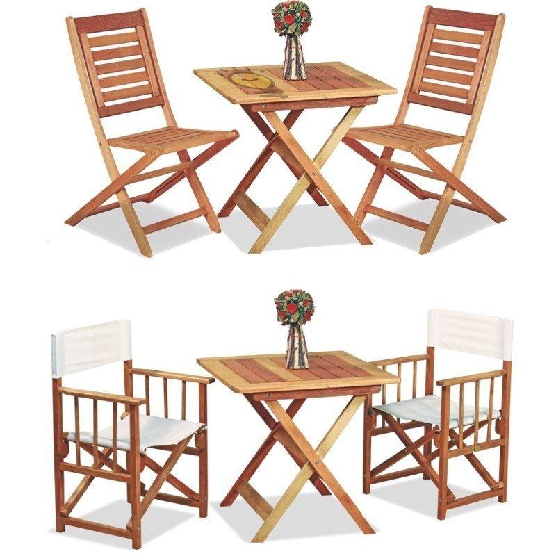 Mesa Arandu plegable de madera con 2 sillones o 2 sillas amancay