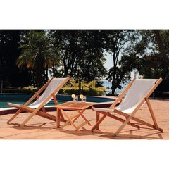 Imagen de Set 2 Reposeras Madera Lona Plegable Para Pileta Playa Patio