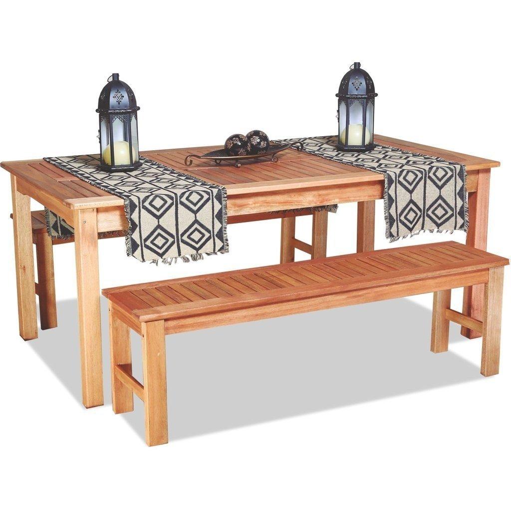 Mesa de madera con 2 bancos Ecomadera apto para exteriores