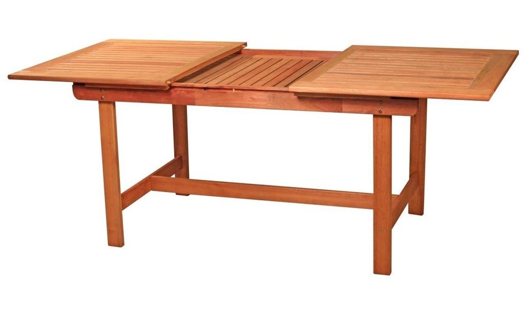 Mesa de madera extensible a 10 sillas plegables for Mesas de jardin plegables