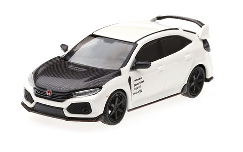 Mini GT 1:64 Honda Civic Type R (FK8) Branco Capô Carbono