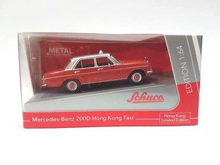 PRÉ VENDA Schuco 1:64 Mercedes-Benz 200D Hong Kong Taxi Red / Silver HK Exclusive