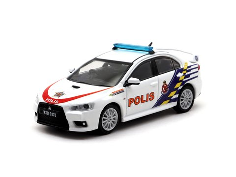 PRÉ VENDA Tarmac 1:64 Mitsubishi Lancer Evolution X Malaysian Police Car - Malaysia Exclusive Model
