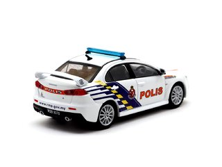 PRÉ VENDA Tarmac 1:64 Mitsubishi Lancer Evolution X Malaysian Police Car - Malaysia Exclusive Model - comprar online