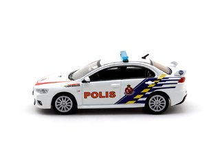PRÉ VENDA Tarmac 1:64 Mitsubishi Lancer Evolution X Malaysian Police Car - Malaysia Exclusive Model na internet