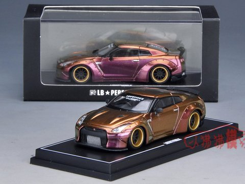 PRÉ VENDA  LB WORKS 1:64 Nissan GT-R R35 Duck Tail Chameleon Gold