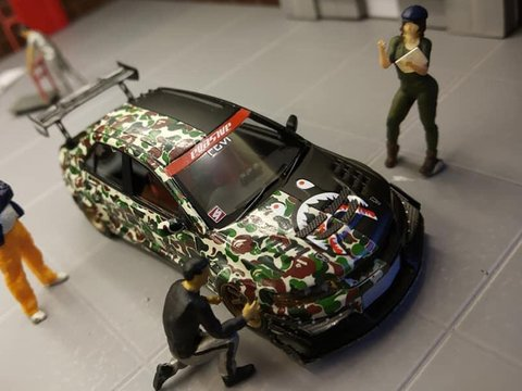 Error404 1:64 Mitsubishi Lancer Evolution VII VOLTEX AAPE Matte Black