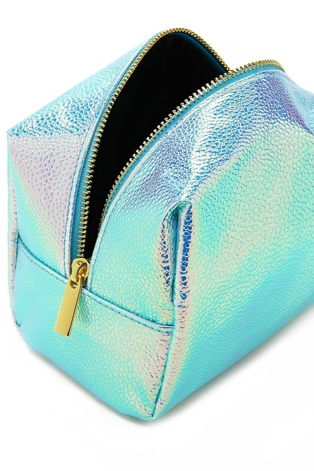 FOREVER 21 Holographic Pebbled Makeup Bag Seafoam/olive en internet