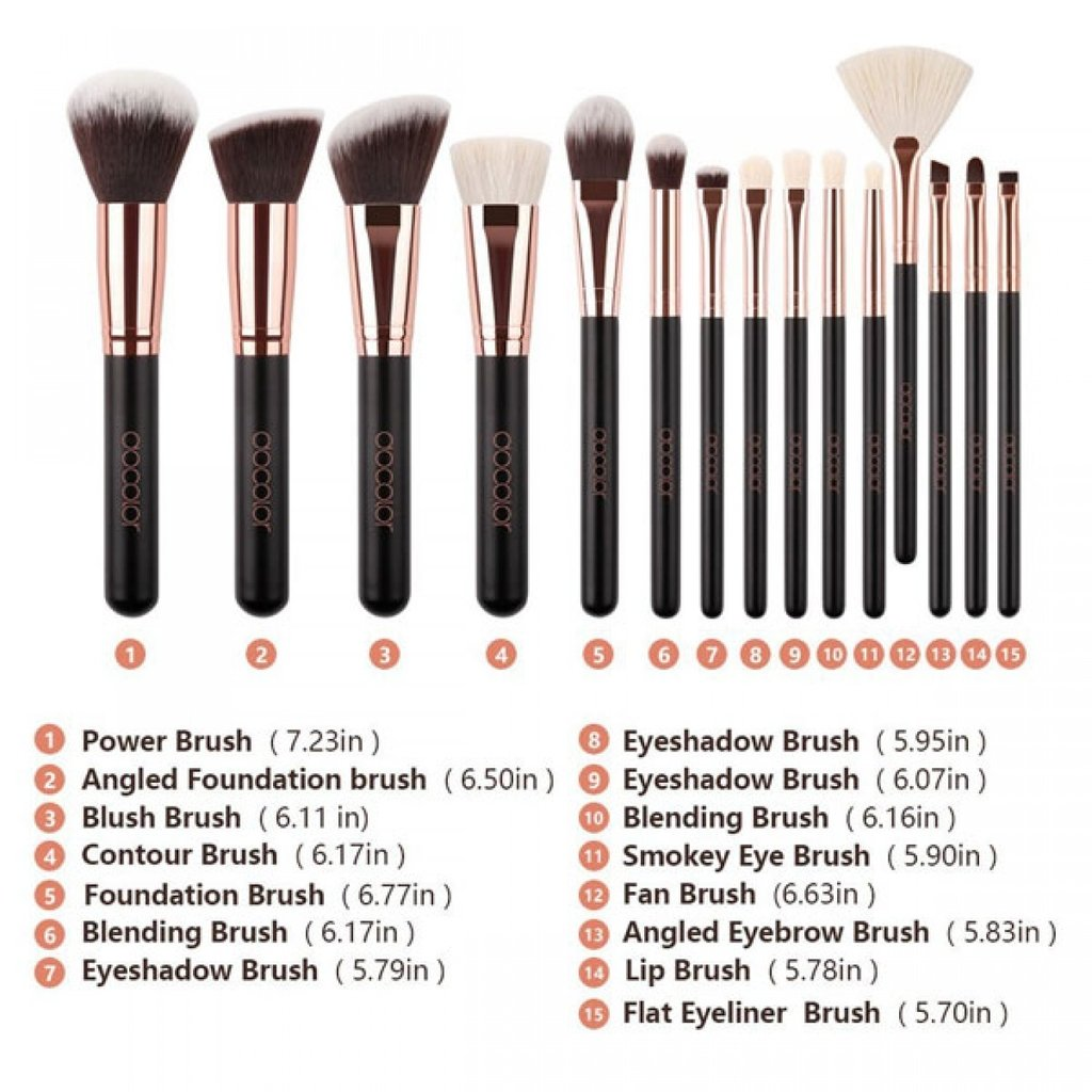 DOCOLOR - 15 Pieces Rose Gold Makeup Brushes Set - DC1501