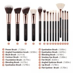 DOCOLOR - 15 Pieces Rose Gold Makeup Brushes Set - DC1501 . - Vanity Shop