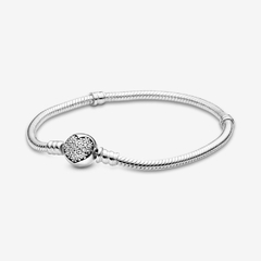 Pandora Original - Moments Sparkling Heart Clasp Snake Chain Bracelet