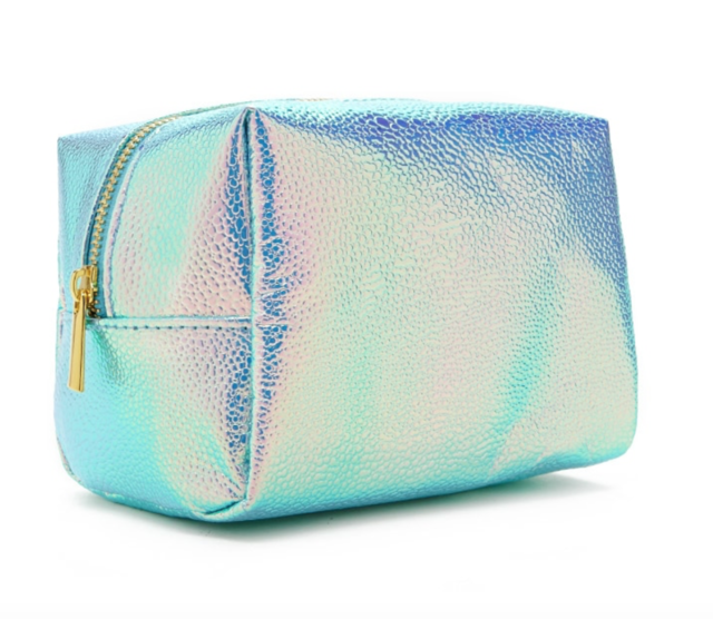 FOREVER 21 Holographic Pebbled Makeup Bag Seafoam/olive - Vanity Shop