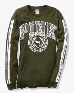 VICTORIA'S SECRET - Bling Long Sleeve Campus Tee Olive L