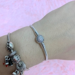 Pandora Original - Moments Sparkling Heart Clasp Snake Chain Bracelet en internet