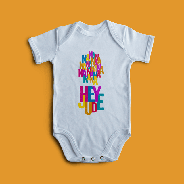 body divertido, body bebê, body criativo, moda infantil, chá de bebê, presente bebê, body beatles, beatles, hey jude, body rock, paul mccartney, john lennon,