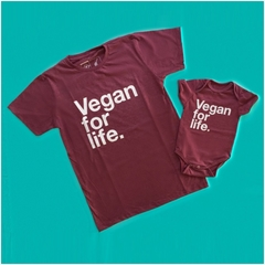 KIT TAL PAI TAL FILHO CAMISETA + BODY DE BEBE - VEGAN FOR LIFE - VEGANO