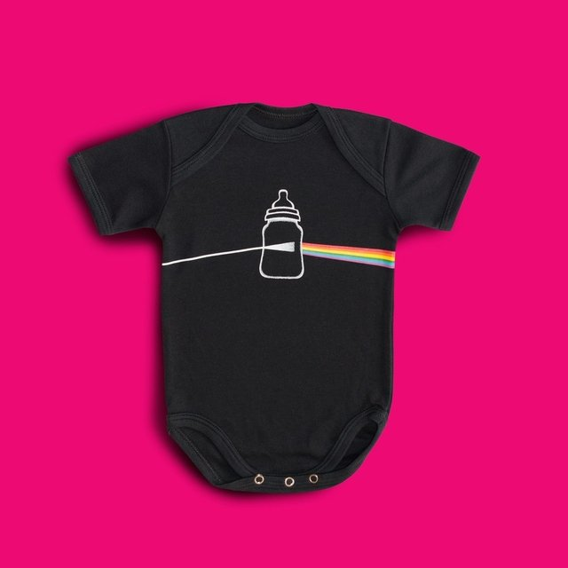 body divertido, body bebê, body criativo, moda infantil, chá de bebê, presente bebê, pai e filho, body rock, body pink floyd, pink floyd, tee, dark side of the moon, dark side of mamadeira, pink floyd junior