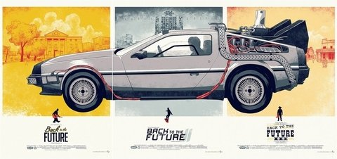 POSTER BACK TO THE FUTURE TRILOGY - DELOREAN - loja online