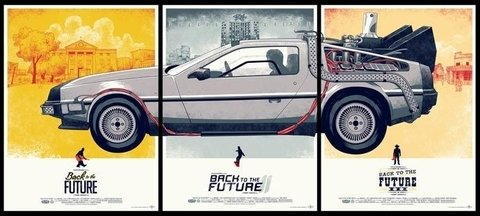 POSTER BACK TO THE FUTURE TRILOGY - DELOREAN