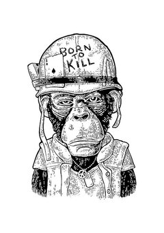 POSTER MONKEY BORN TO KILL - MACACO - comprar online