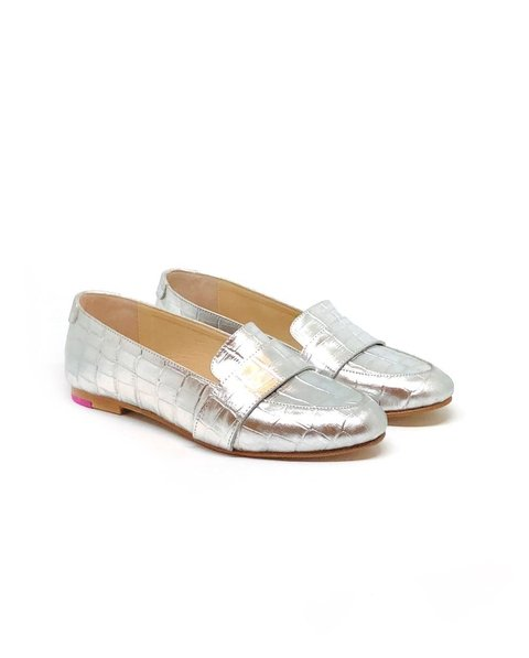 Mocasin Polly Croco Plata