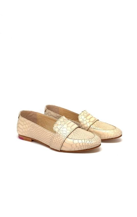 Mocasin Polly Anaconda Nude Plata