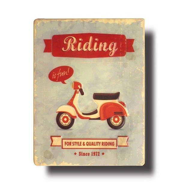 Cartel en chapa ¨Riding¨