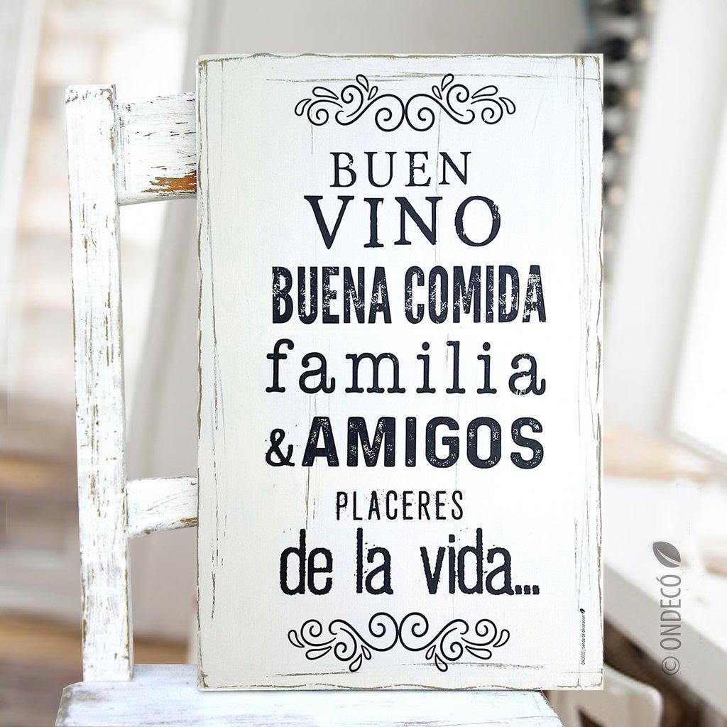 Cuadro Con Frase Buen Vino Buena Comida