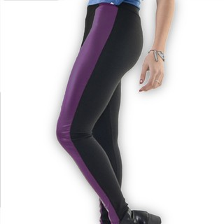 Leggins Black & Purple Leather