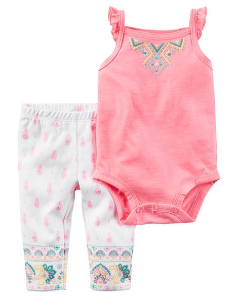 Set de beba Carters con body sin mangas bordado y pantalón estampado