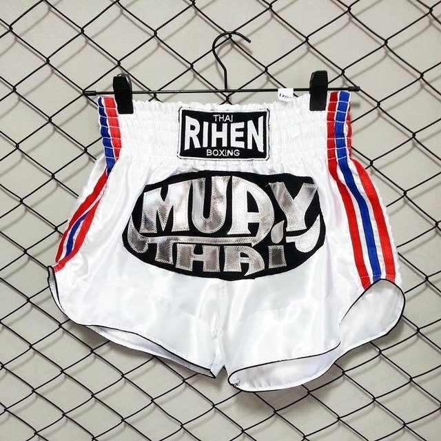 Shorts Muay Thai Blanco Bandera Thai RIHEN