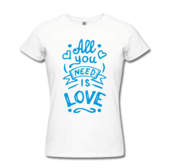 CAMISETA ALL YOU NEED IS LOVE na internet