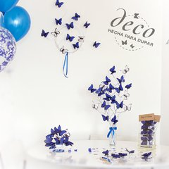 Kit para decoracion de Candy Bar de mariposas Azules Bat Mitzvah