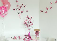 Kit para decoracion de Candy Bar de mariposas Rosas Baby Shower en internet
