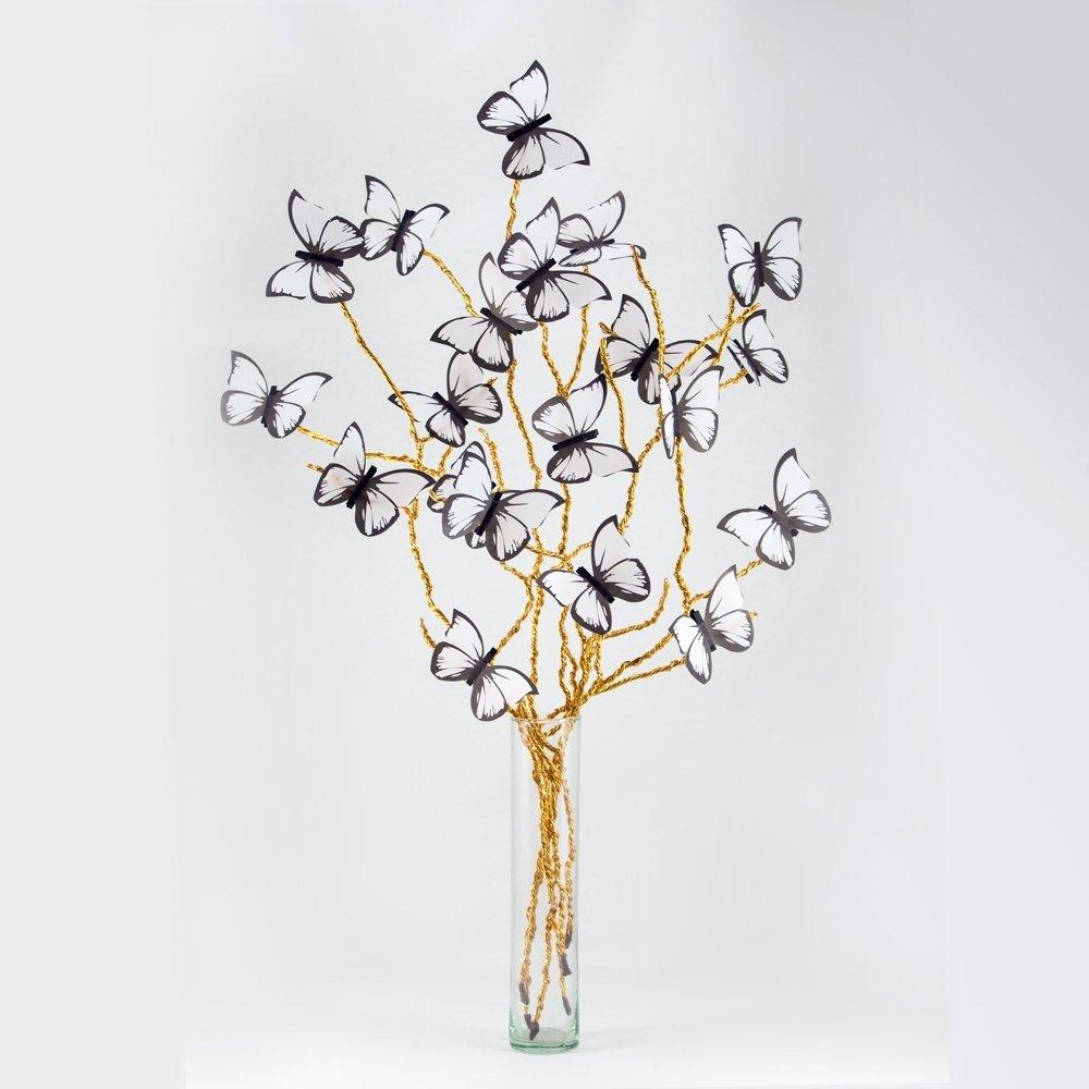 Mariposas En Flor Blanco Y Dorado Con Florero De Regalo