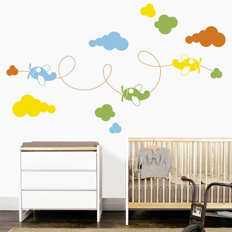 Vinilo decorativo Airplanes, Medida Small  120 x 70 cm (Aprox) , Medida Large 200 x 120 cm