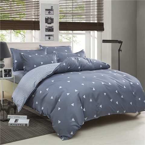 Duvet cover Set Blue Gray Queen