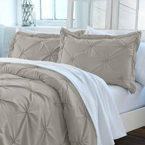 Duvet cover pinzado Taupé  Queen o King