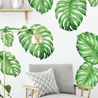 Vinilo decorativo Exotic Leaves, en tonos verdes