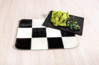Set x 2 individuales en cuero - Yaunde blanco y negro - African Leather