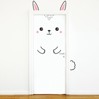 Vinilo decorativo Happy Rabbit para puerta color negro y rosa