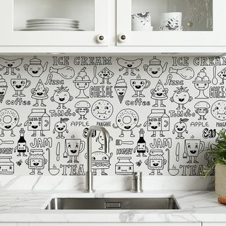 Vinilo decorativo Kitchen Doodles, Medida Small  50 x 50 cm (Aprox) , Medida Large 100 x 50 cm
