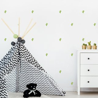Vinilo decorativo Little Cactus Set de 24 o 47 elementos