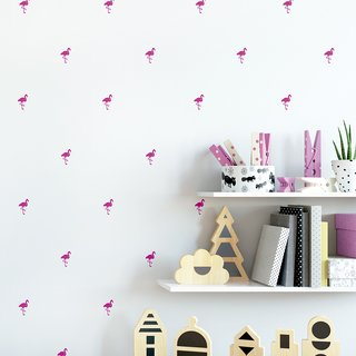 Vinilo decorativo Little Flamingos Set de 36 o 71 elementos