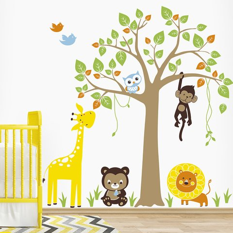 Vinilo decorativo Little Jungle, Medida Small  100 x 120 cm (Aprox) , Medida Large 160 x 175 cm